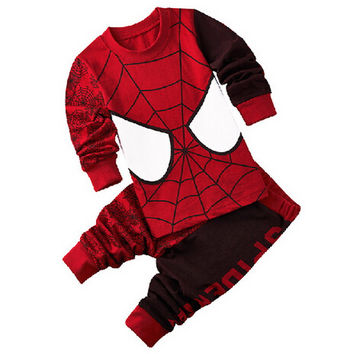 Kids Pajama Sets baby Boys Sleepwear Suit Children pyjamas Clothing Set for Spider-Man T-shirt Pants for age 2-7 Years