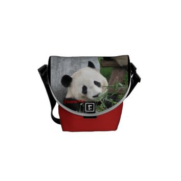 Panda, Black/Red Background, Mini Messenger Bag