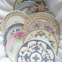 Set of 10 - Vintage Mismatched Dessert/Salad Dishes/Tea Party/Wall Display/Bridal Shower Favors/Instant Collection/Bachlorette Party Gifts