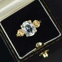 14K Gold Flower Aquamarine Solitaire Ring