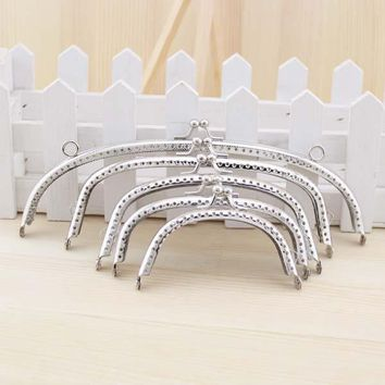 Free shipping! Silver arc-Shaped Purse Frame Metal DIY Coin Bag Accessories 5PCS SET OF 8.5/ 10/ 12/ 15/ 20CM