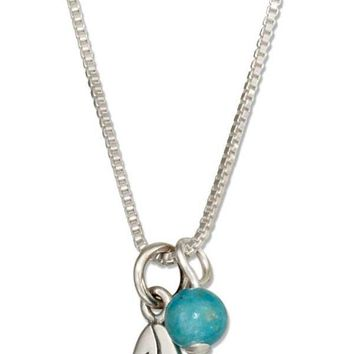 "Sterling Silver 18"" Surfboard Pendant Necklace With Blue Riverstone Bead"