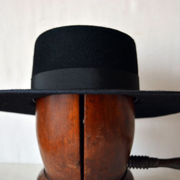 Black Bolero - Wide Brim Flat Crown Wool Felt Bolero Hat - Men Women