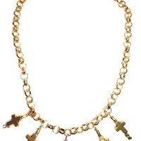 Cool gold plated multi cross necklace