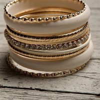 Assorted Bangles - Cream from Jewelry & Accessories at Lucky 21 Lucky 21