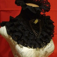 Black victorian collar by blackmirrordesign on Etsy