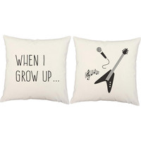 Set of 2 Kid's Rockstar Pillows - Rock and Roll Pillow Covers and or Cushion Inserts - When I Grow Up, Children's Music Print, Guitar Pillow