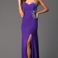 Strapless Sweetheart Floor Length Dress with Ruched Waist