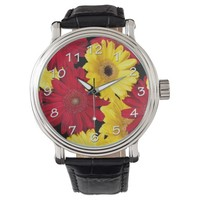 Bright Red and Yellow Gerber Daisies Watch