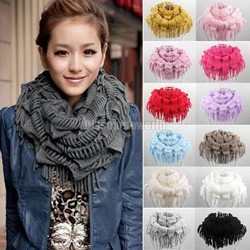 2017 New Fashion Womens Winter Warm Knitted Layered Fringe Tassel Neck Circle Shawl Snood Scarf Cowl 13 Colors Luxury