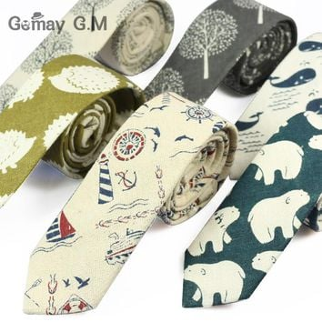New Designer Print Ties Casual Narrow Necktie Ties for Men Hip-hop Party Floral Cotton Skinny Tie Cravat