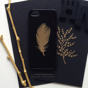 iPhone 6 Case Gold, iPhone 5 Gold Metallic Case, iPhone 5s Black Feather Case, iPhone 4s Case, Floral iPhone Case, TOUGH iPhone Cover M12