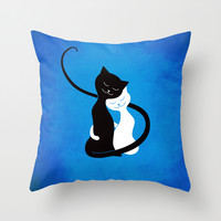 White And Black Cats In Love Throw Pillow by Boriana Giormova