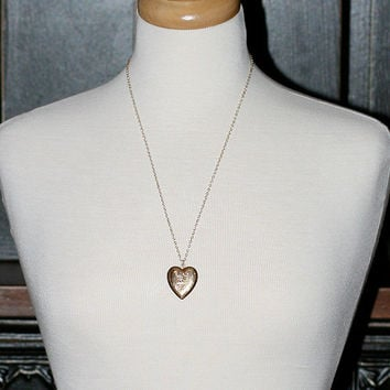 Gold Heart Locket Necklace, Gold Filled Vintage Diamond Accented Engraved Pendant - Queen of Hearts