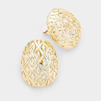 Dramatic Oval Gold Filigree Metal Clip On Earrings