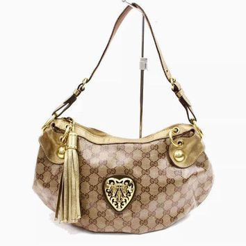Gucci Handbag Babouska Guccissima Gold Crystal Leather Crest Hobo Shoulder Bag