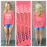 Coral Oversized Crop Knit Sweater