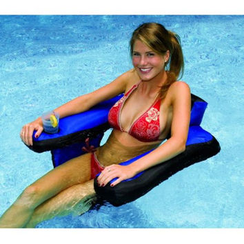 Inflatable Swimming Pool Water Recliner Lounge Chair with Cup Holder