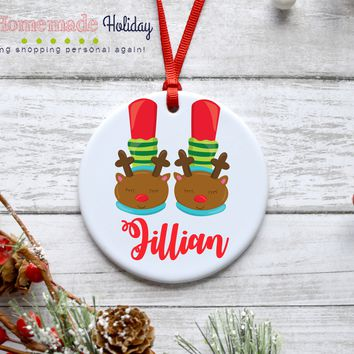 Reindeer Slippers Christmas Ornament