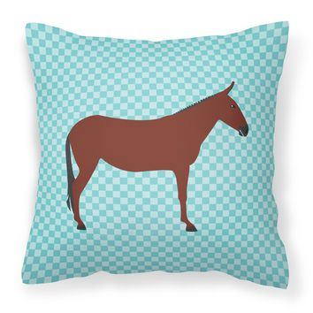 Hinny Horse Donkey Blue Check Fabric Decorative Pillow BB8024PW1818