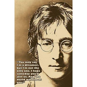 JOHN LENNON photo quote poster AND THE WORLD WILL LIVE AS ONE 24X36 classic