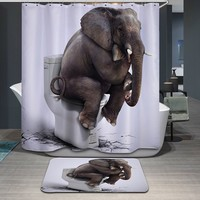3D Print Elephant Shower Curtain Fabric Bathroom Carpet Rug Waterproof With Mat