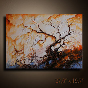 Original Abstract Landscape tree Painting on Canvas Contemporary  Fine Art   Wall Hanging