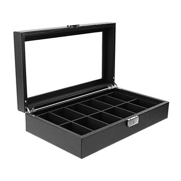 GENBOLI 12 Slot Gird Watch Box Jewelry Organizer Display 35* 20* 8cm Large Glass Storage Holder Carbon Fiber Show Case