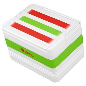 Stripes White Red Green Drink Cooler