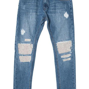 Medium Blue Patched Distressed Skinny Denim Jeans