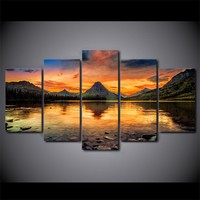 Medicine Lake glacier 5 piece Wall Art on Canvas Print Panel Poster Picture