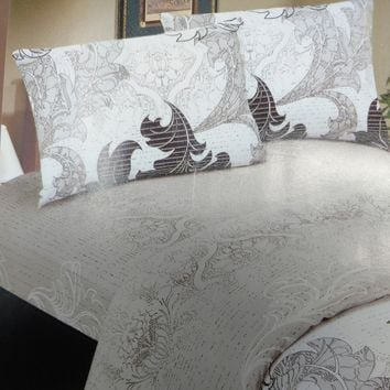 Elegant Jacquard Paisley Grey Floral Real Leaves Linen Flat Sheet & Pillow Cases Sham Cover (FS8197