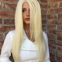 Light Ash Blonde Straight Swiss lace front wig 26""
