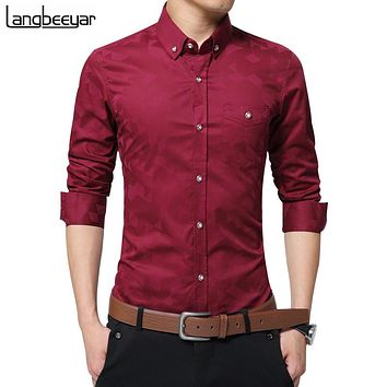 Men's Long-Sleeve Jacquard Weave Slim Fit Plus Size Shirt by Langbeeyar