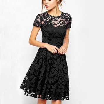 Fashion Women Floral Lace Short Sleeve Cocktail Evening Party Casual Mini Dress