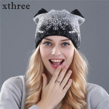 VONG2W Xthree cute kitty winter hat for women Rabbit fur wool knitted hat beanies hat feminino hat for girl