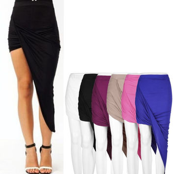 Draped Asymmetrical High Waisted Stretch Bodycon Low Maxi Skirts