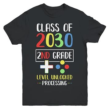 Class Of 2030 2nd Grade Level Unlock Gaming Back Go School Youth