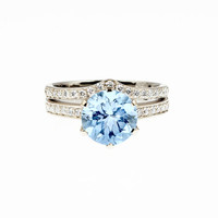 engagement ring set,  Sky blue topaz ring, diamond engagement, solitaire, diamond wedding ring, curved band, wedding ring set, blue topaz