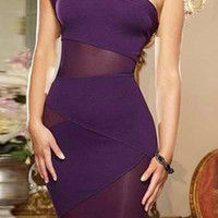 Purple One-Shoulder Cut-Out Dress