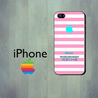 PInk Stripe Teal iPhone Case - iPhone 4 Case or iPhone 5 Case