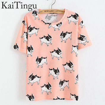 KaiTingu Brand New Fashion Spring Summer Style Harajuku T Shirt Women Clothes Tops O-Neck Tee Shirts Funny Dog Print