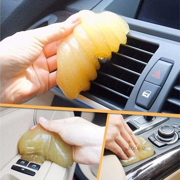 (Random color) green/Yellow/red/pink Car Magic Vent Air Outlet Storage Box Panel Door Handle Dust Glue Cleaner Tool (Size: 1) [9145127430]