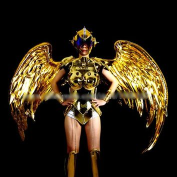 Gold Plated Catwalk Cosplay Costume Wings Suit Dance Clubs