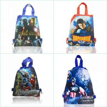 12pcs Marvel Avenger Cartoon Icon Drawstring Gift Bag Backpacks 34*27CM Party Bags Non Woven Fabrics Bags Kid Party Supplies