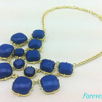 cute blue resin necklace, fashion handmade bib Necklace/glitter Statement Bubble choker,bridesmaid gifts,unique Beaded  Jewelry torque