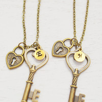 2 best friend personalized key lock jewelry,friend gift,bff,key and lock necklace,couple necklace,initial skeleton key necklace,key to heart