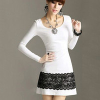 White Long Sleeve with Scalloped Floral Lace Accent  Mini Dress