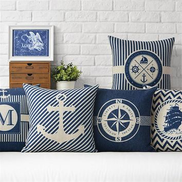 Modern Sailing Ships Marine Printing Cushion Covers Anchor Rudder Linen Throw Pillow Case for Couch Seat Bedroom Home Decorative