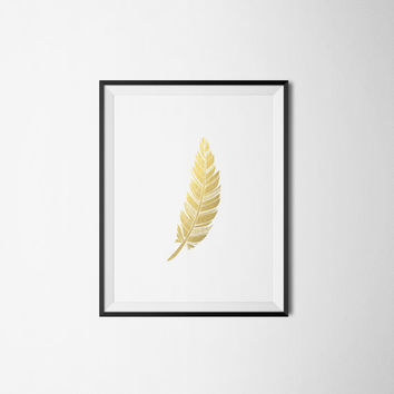 Faux Gold Feather Print Feminine Print Bohemian Print INSTANT DOWNLOAD 8X10